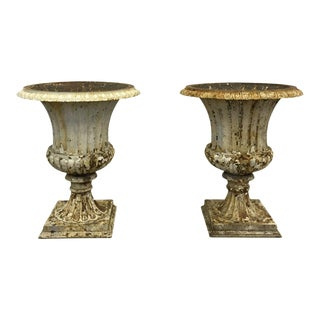 American Cast Iron Urns - a Pair