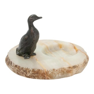 Vintage Alabaster Ashtray With Duck