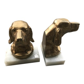 Vintage Brass and Onyx Dog Bookends - A Pair