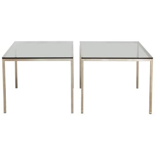 Mid-Century Chrome and Glass Side Tables - A Pair