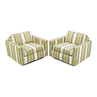 Pair of 1960s Cube Chairs in Taupe Striped Cotton Upholstery