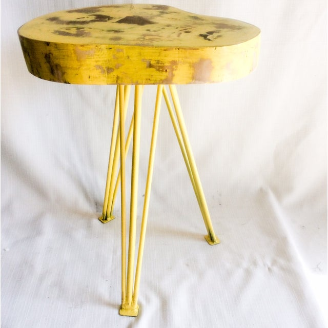 Image of Yellow Wood End Table