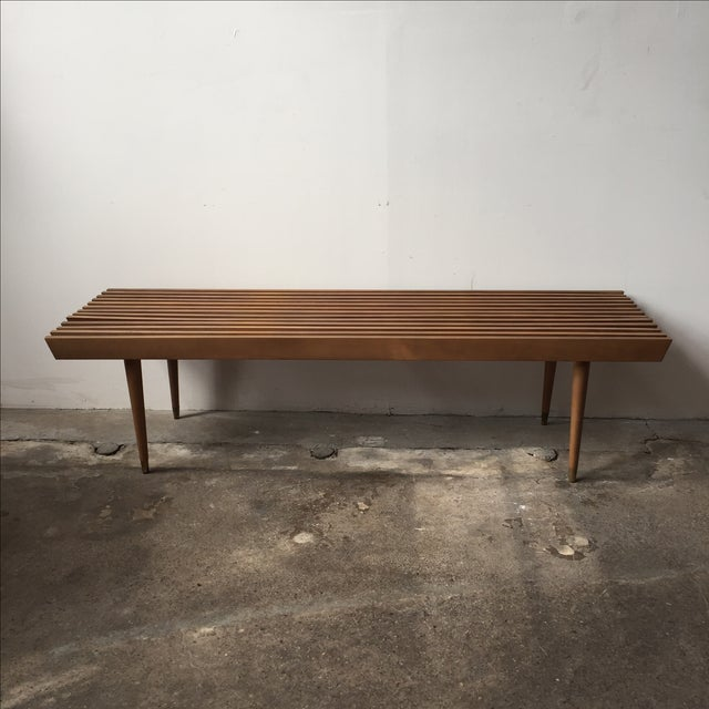Mid-Century Yugoslavian Slat Bench With Peg Legs - Image 2 of 11