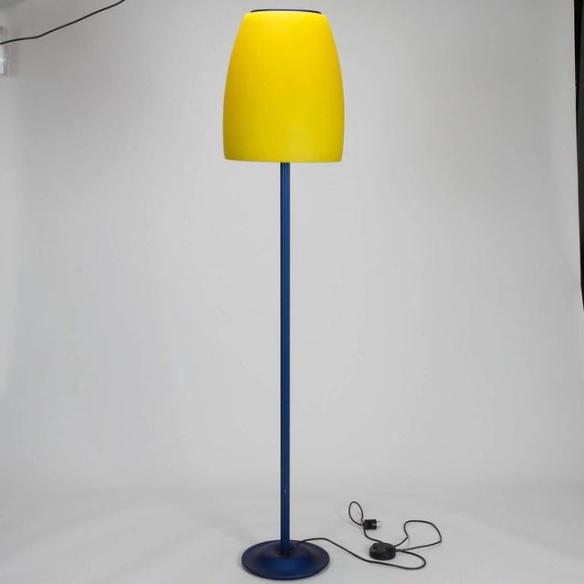 Blue and Yellow Memphis Floor Lamp with Glass Shade - Image 7 of 7