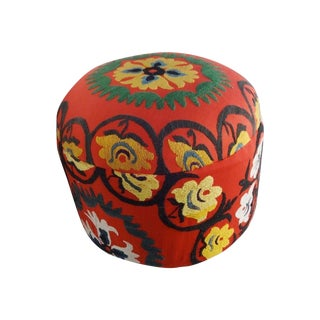 Ottoman With Vintage Uzbeck Suzani Upholstery