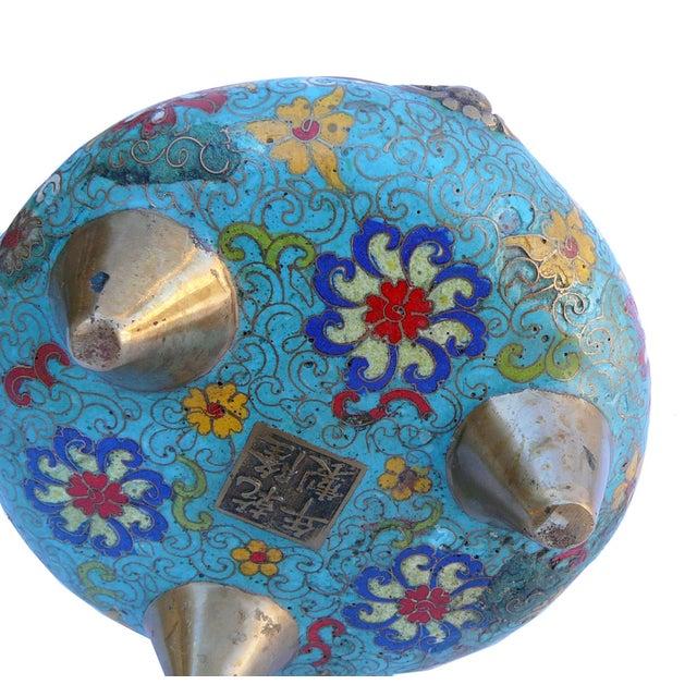 Bronze Turquoise Cloisonne Tri-Leg Incense Burner - Image 5 of 5