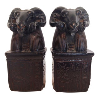 Vintage Egyptian Rams Head Carved Bookends