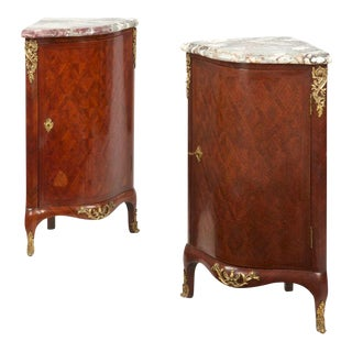 French Louis XV Style Parquetry Ecoignures Cabinets- A Pair, 19th Century