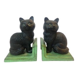 Iron Black Cat Bookends- A Pair