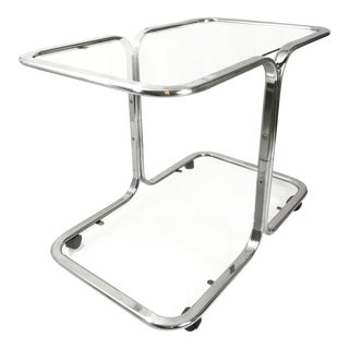 Milo Baughman Style Two-Tier Chrome Bar Cart