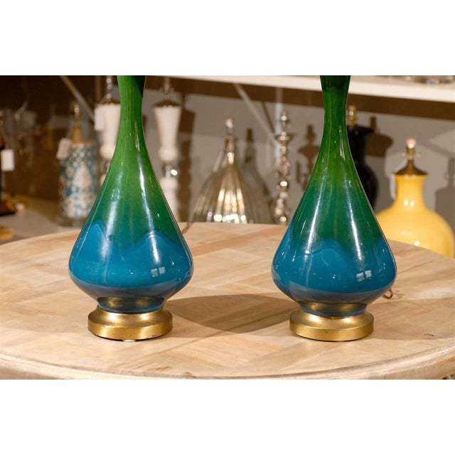 Mid-Century Green and Blue Glazed Lamps - Pair - Image 5 of 6