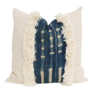Vintage African Mudcloth & Indigo Fringe Pillow