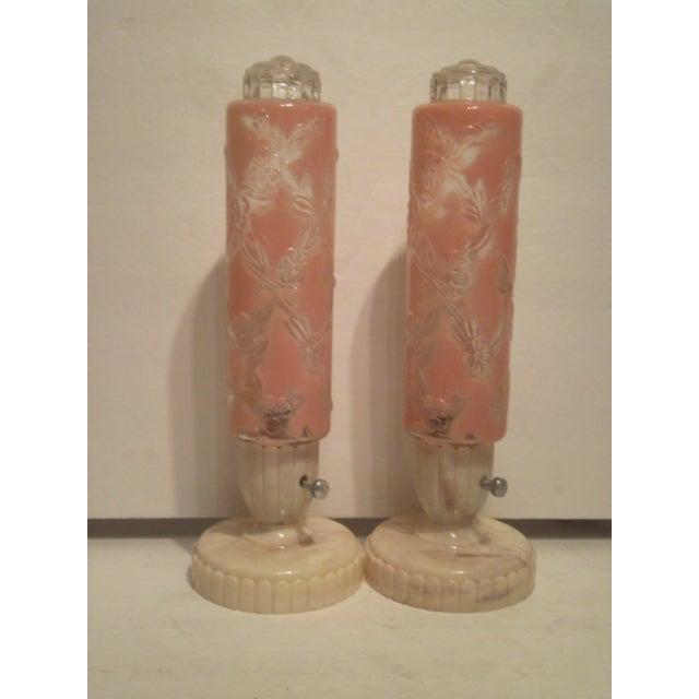 Image of 1940s-50s Art Deco Electrolite Vanity Lamps - Pair