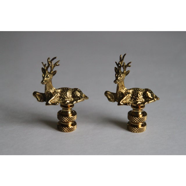 Brass Deer Lamp Finials - A Pair - Image 2 of 3