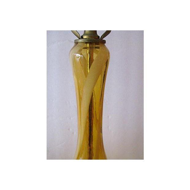 Mid-Century Murano Glass Swirl Table Lamp - Pair - Image 5 of 6