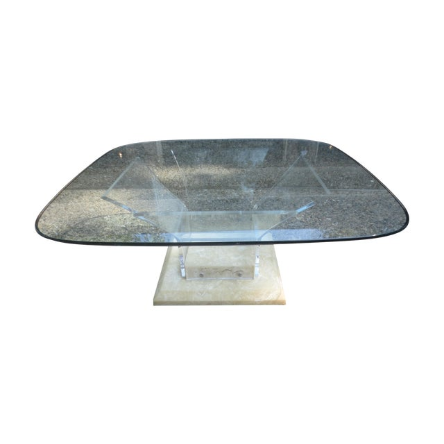 1970s Lucite and Glass Coffee Table - Image 1 of 7