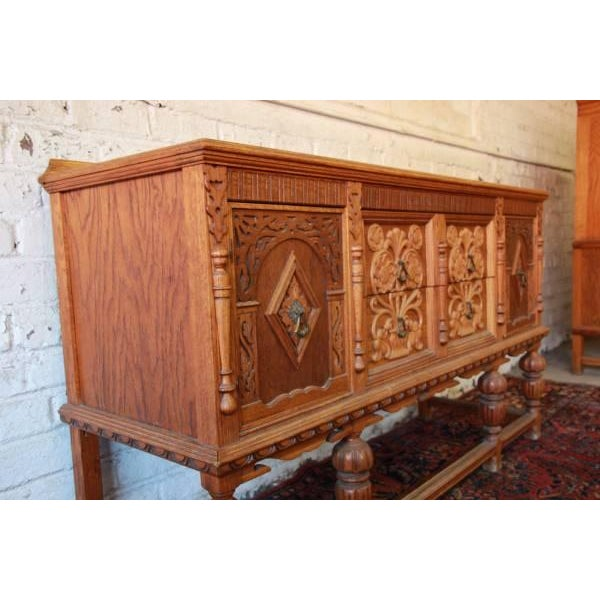 Antique Spanish Revival Oak Sideboard Buffet - Image 5 of 8