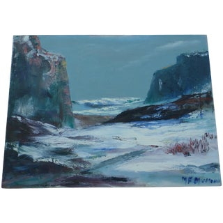 Mid Century Painting of Ocean Waves, M.F. Musgrave