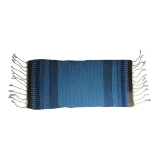 Small Blue Hand Woven Wool Textile Sample