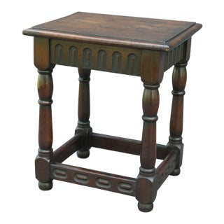 Antique English Oak Joint Stool