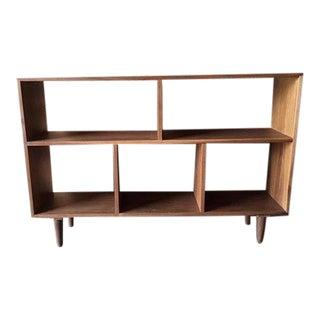 Custom Mid Century Style Walnut Record Shelf