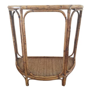 Vintage Bamboo & Rattan Demilune Accent Table