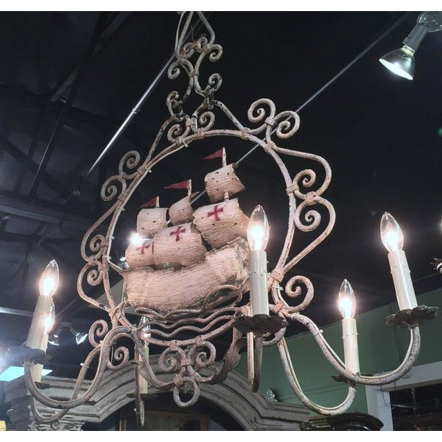 Mid-20th Century French Painted Iron 6-Light Sailboat Chandelier - Image 5 of 9