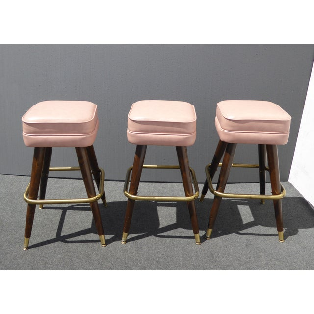 Retro Pink Vinyl Bar Stools - Set of 3 - Image 4 of 11