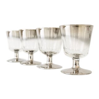 Mid Century Dorothy Thorpe Style Ombre Silver Fade Cordial or Liqueur Glasses - Set Of 4