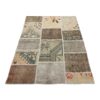 "Vintage Turkish Patchwork Oushak Rug - 3'8"" x 5'"