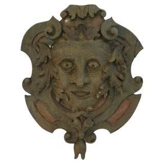 Antique French Hand-Carved Pediment Plaque