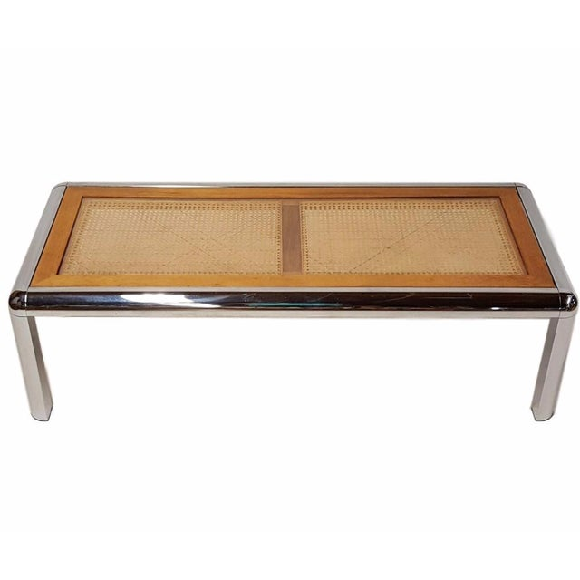 Tubular Chrome Coffee Table: Milo Baughman Style Tubular Chrome And Cane Table