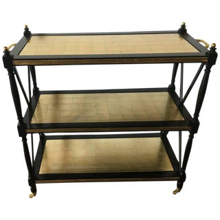 A Fine Ebony And Gilt Glass Bronze Mounted Three Tier Tea Serving Cart