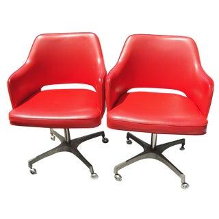Vintage Brody Orange Swivel Chairs - A Pair