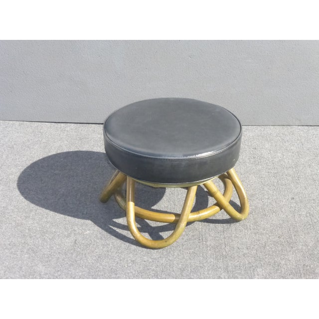 Image of Mid Century Modern Swivel Ottoman With Rattan Base