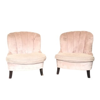 Channel Back Lounge Chairs - A Pair