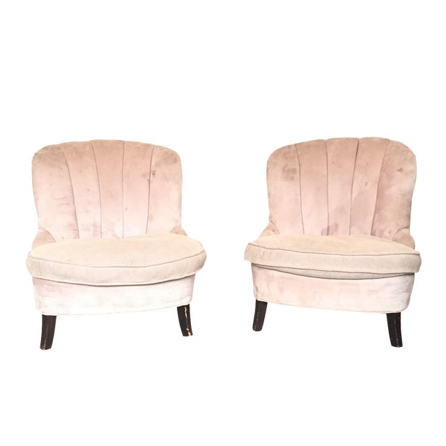 Image of Channel Back Lounge Chairs - A Pair