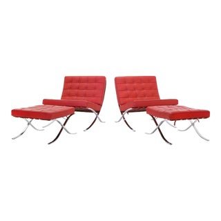 Pair of Red Leather Barcelona Chairs (ON HOLD) Ottomans sold separately