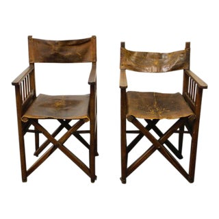 French Folding Campaign Chairs - A Pair