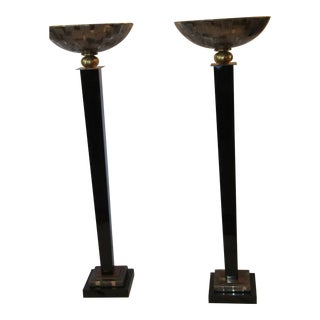 1970's Brass Floor Lamps With Ceramic Shade - a Pair