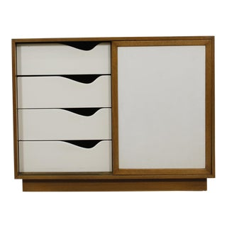 MCM Cabinet by Harvey Probber in Bleached Mahogany with Sliding Doors Covered in White Leather