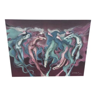 Modern Abstract Painting of Horses