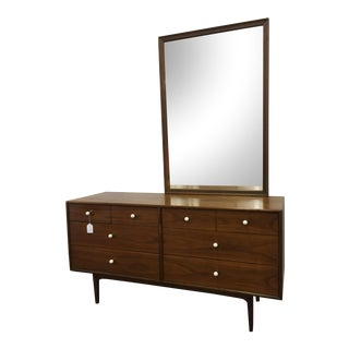 Kipp Stewart for Drexel, Walnut Dresser & Mirror