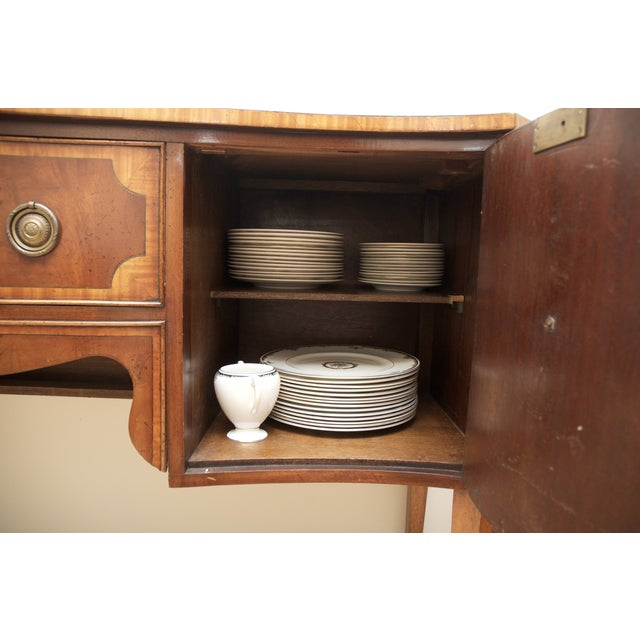 Antique Mahogany Serpentine Buffet Sideboard - Image 9 of 10