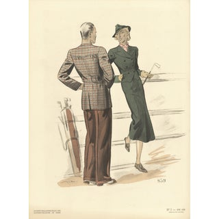 1938 Fashion Golf Tailoring Lithograph
