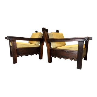 Mid-Century Hand Carved Mahogany Lounge Chairs- A Pair
