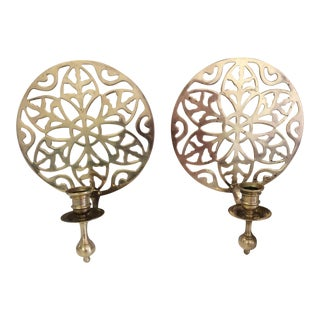 Reticulated Brass Wall Sconces - A Pair