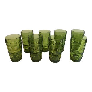 Green Pressed Glass Tumblers- Set of 8