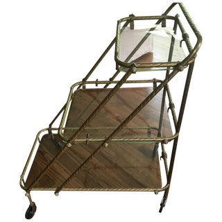 Antique French Tea Cart/Bar Cart on Wheels