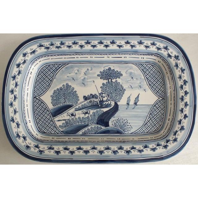 Nazari Blue & White Hand Painted Portuguese Platter - Image 2 of 9